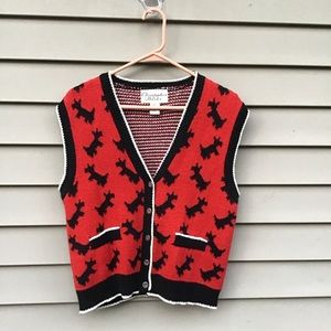 Vintage Scotty dog cardigan sweater vest large